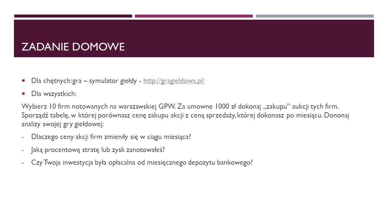 Zadanie domowe Dla chętnych: gra – symulator giełdy - http://gragieldowa.pl/ Dla wszystkich: