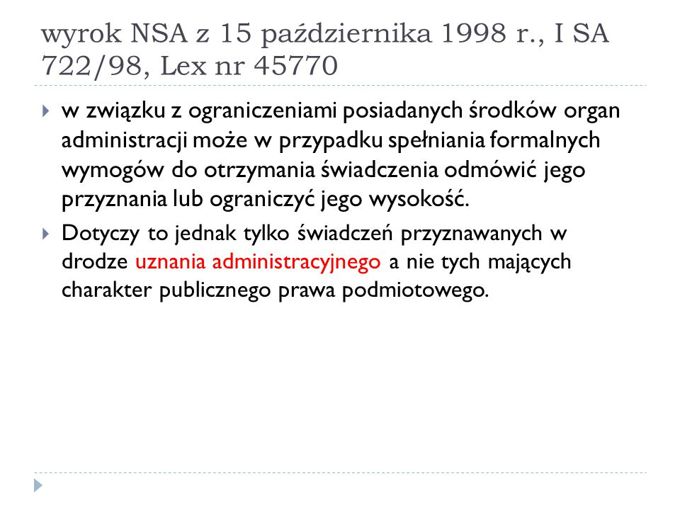 wyrok NSA z 15 października 1998 r., I SA 722/98, Lex nr 45770
