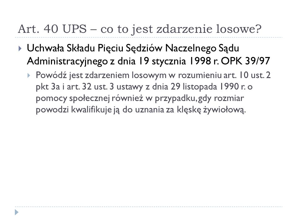 Art. 40 UPS – co to jest zdarzenie losowe