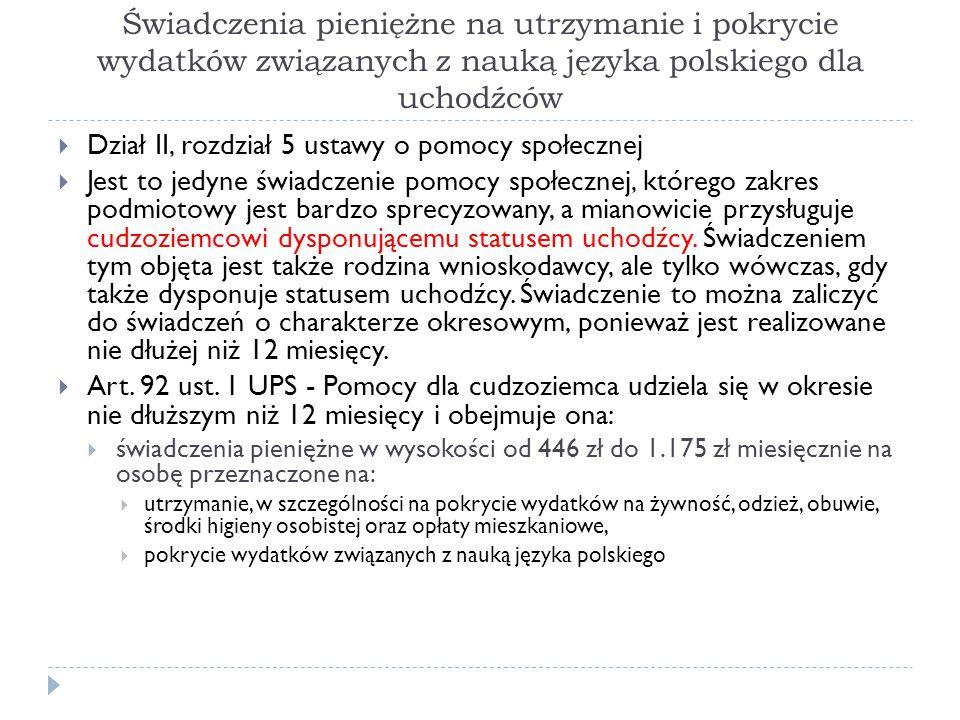 Świadczenia pieniężne na utrzymanie i pokrycie wydatków związanych z nauką języka polskiego dla uchodźców