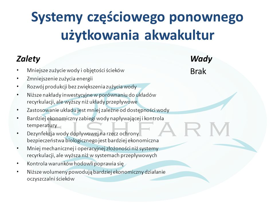 Systemy częściowego ponownego użytkowania akwakultur