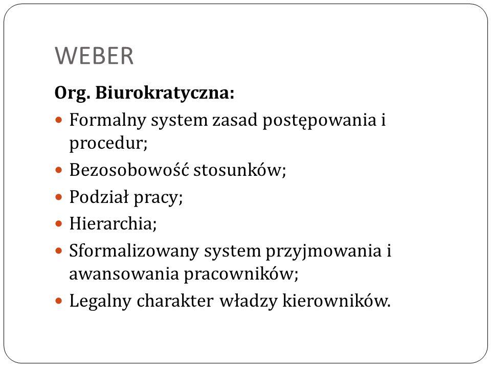 WEBER Org. Biurokratyczna: