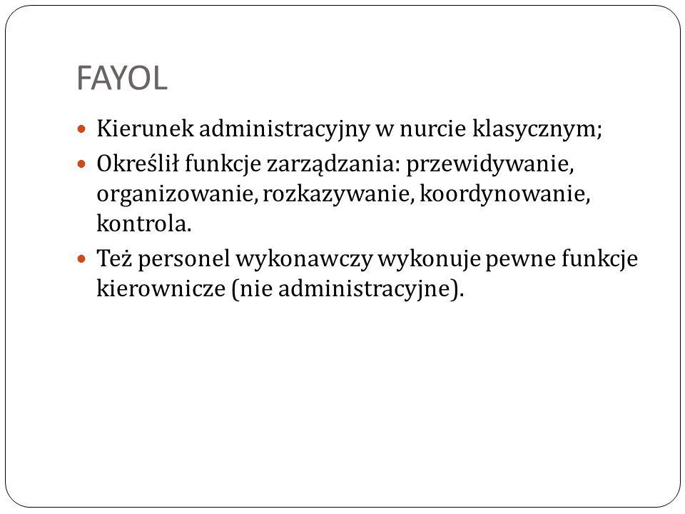 FAYOL Kierunek administracyjny w nurcie klasycznym;