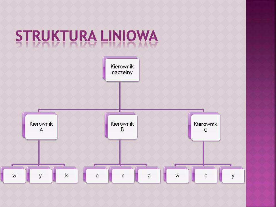 STRUKTURA liniowa Kierownik naczelny Kierownik A w y k Kierownik B o n