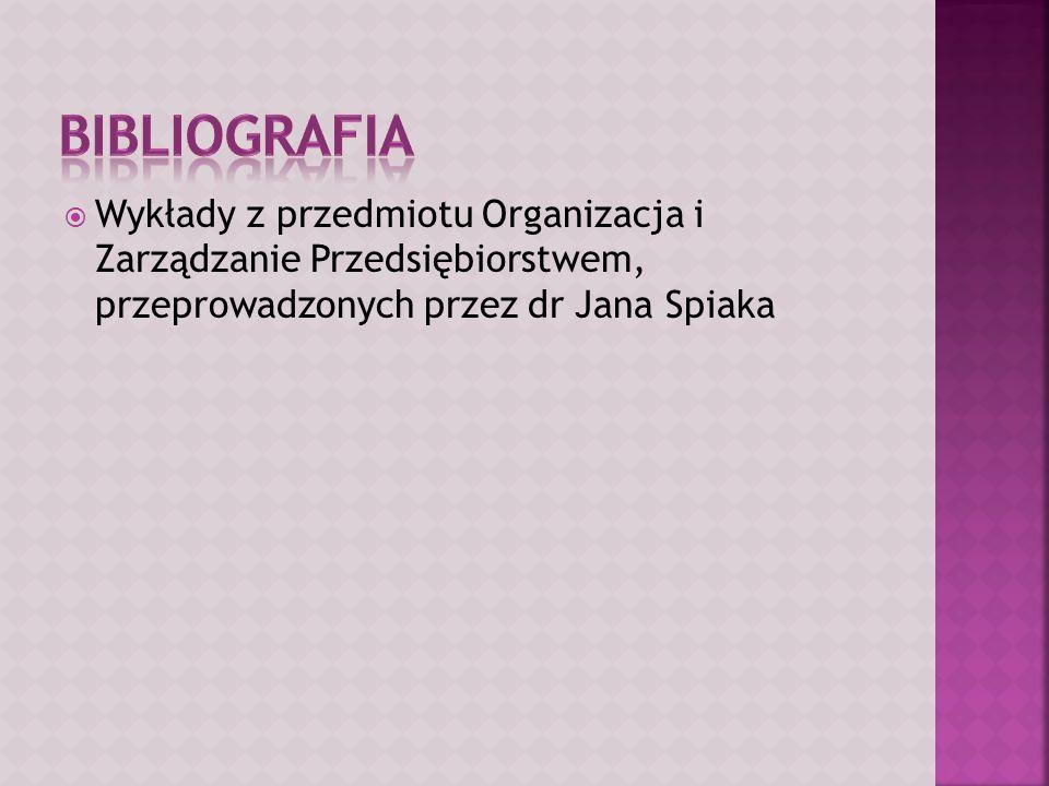 Bibliografia Wykłady z przedmiotu Organizacja i Zarządzanie Przedsiębiorstwem, przeprowadzonych przez dr Jana Spiaka.