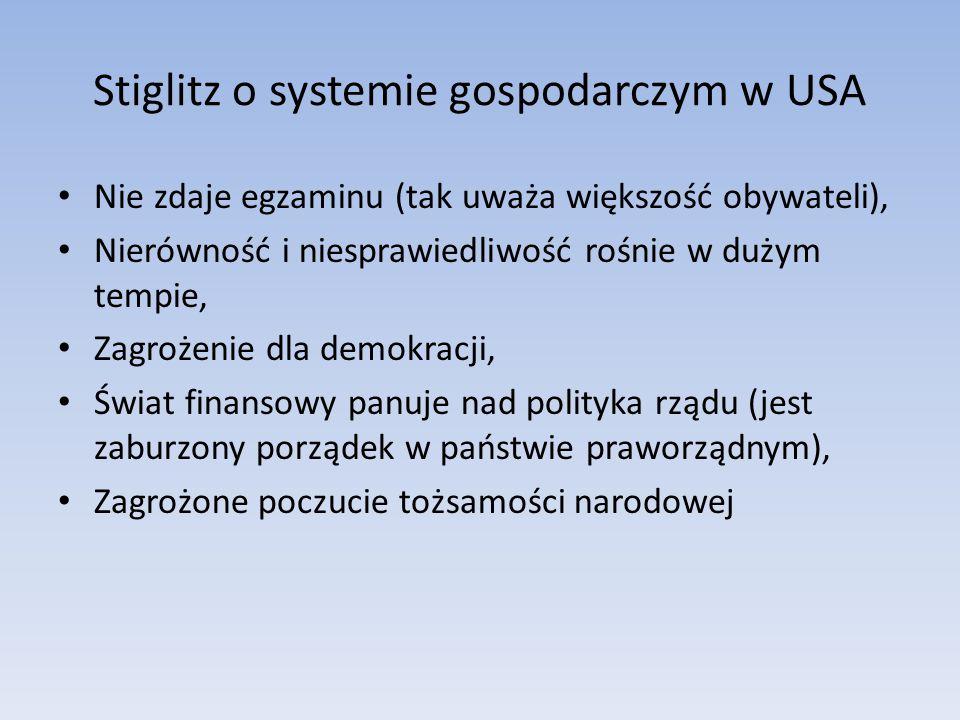 Stiglitz o systemie gospodarczym w USA