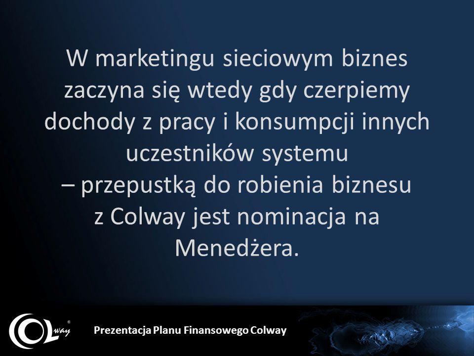 W marketingu sieciowym biznes zaczyna się wtedy gdy czerpiemy dochody z pracy i konsumpcji innych uczestników systemu – przepustką do robienia biznesu z Colway jest nominacja na Menedżera.