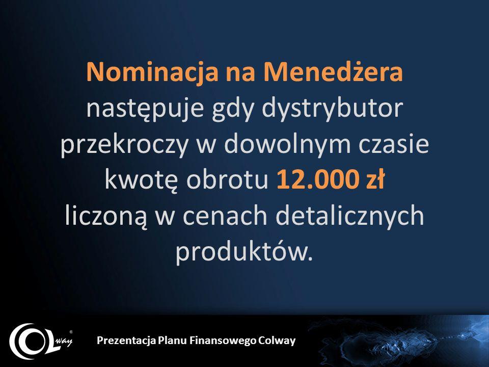 Nominacja na Menedżera następuje gdy dystrybutor przekroczy w dowolnym czasie kwotę obrotu 12.000 zł liczoną w cenach detalicznych produktów.
