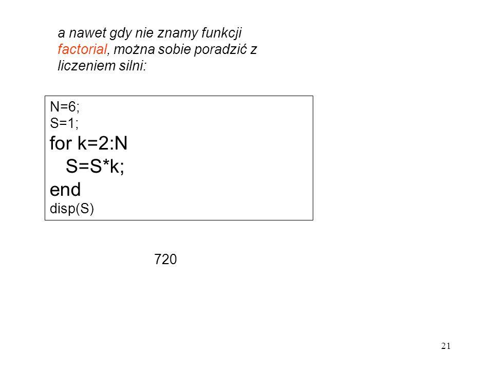 a nawet gdy nie znamy funkcji factorial, można sobie poradzić z liczeniem silni: