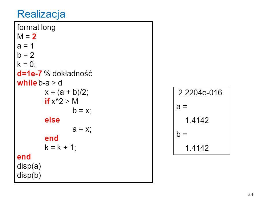 Realizacja format long M = 2 a = 1 b = 2 k = 0; d=1e-7 % dokładność