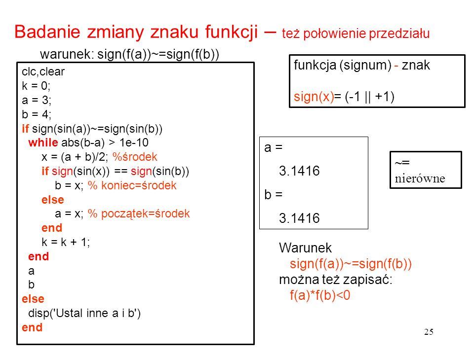 Badanie zmiany znaku funkcji – też połowienie przedziału