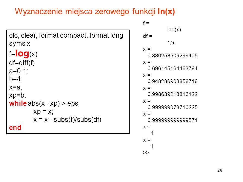 Wyznaczenie miejsca zerowego funkcji ln(x)