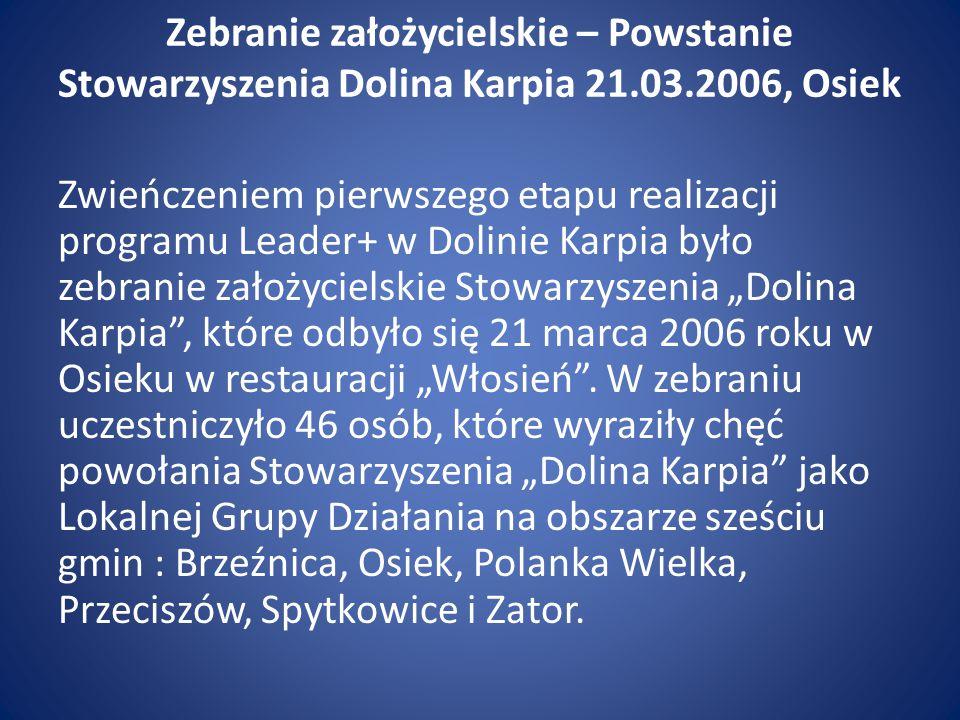 Zebranie założycielskie – Powstanie Stowarzyszenia Dolina Karpia 21.03.2006, Osiek