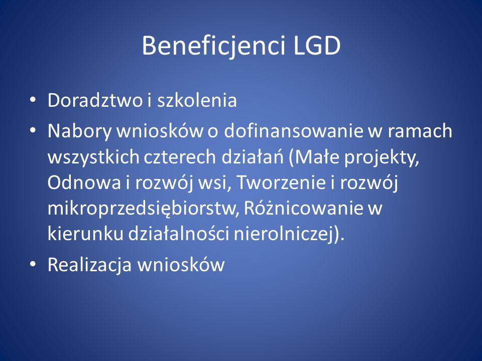 Beneficjenci LGD Doradztwo i szkolenia