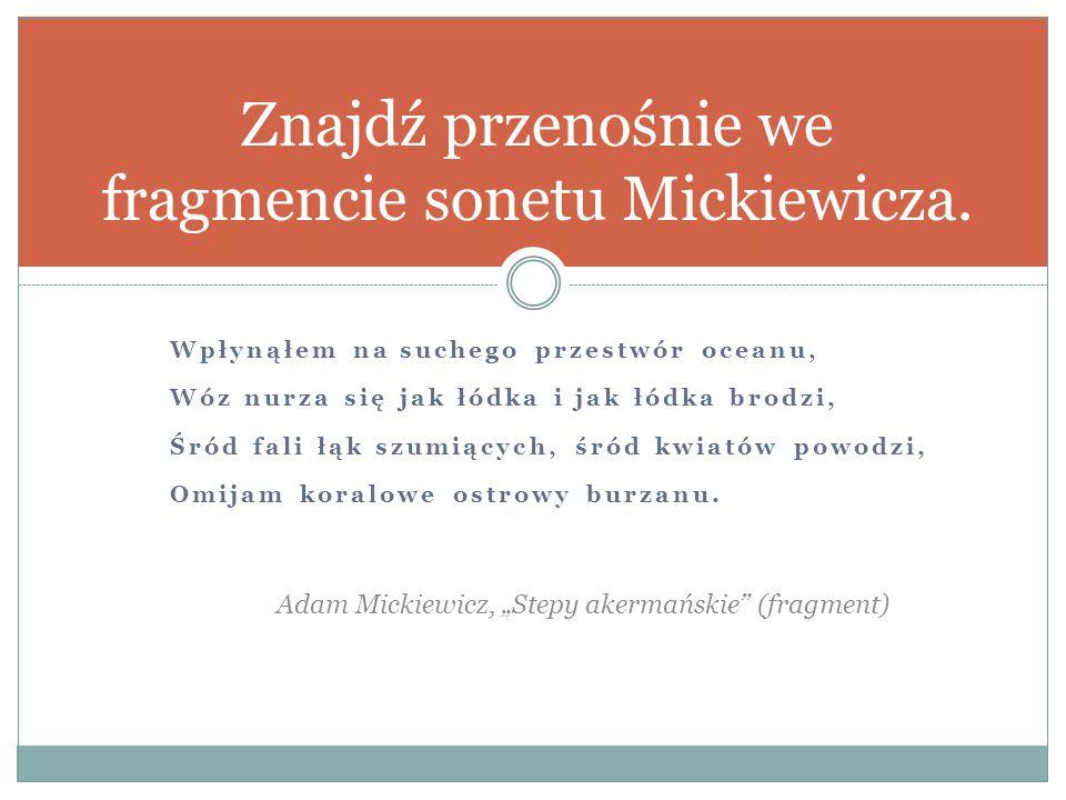 Znajdź przenośnie we fragmencie sonetu Mickiewicza.