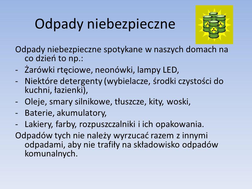 Odpady niebezpieczne Odpady niebezpieczne spotykane w naszych domach na co dzień to np.: Żarówki rtęciowe, neonówki, lampy LED,