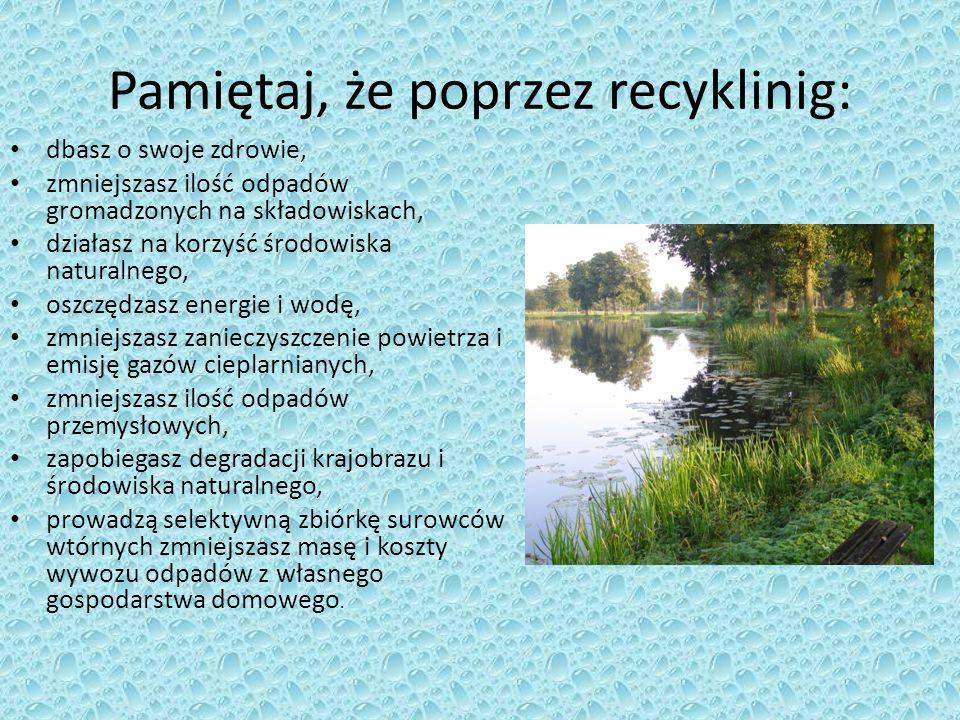 Pamiętaj, że poprzez recyklinig: