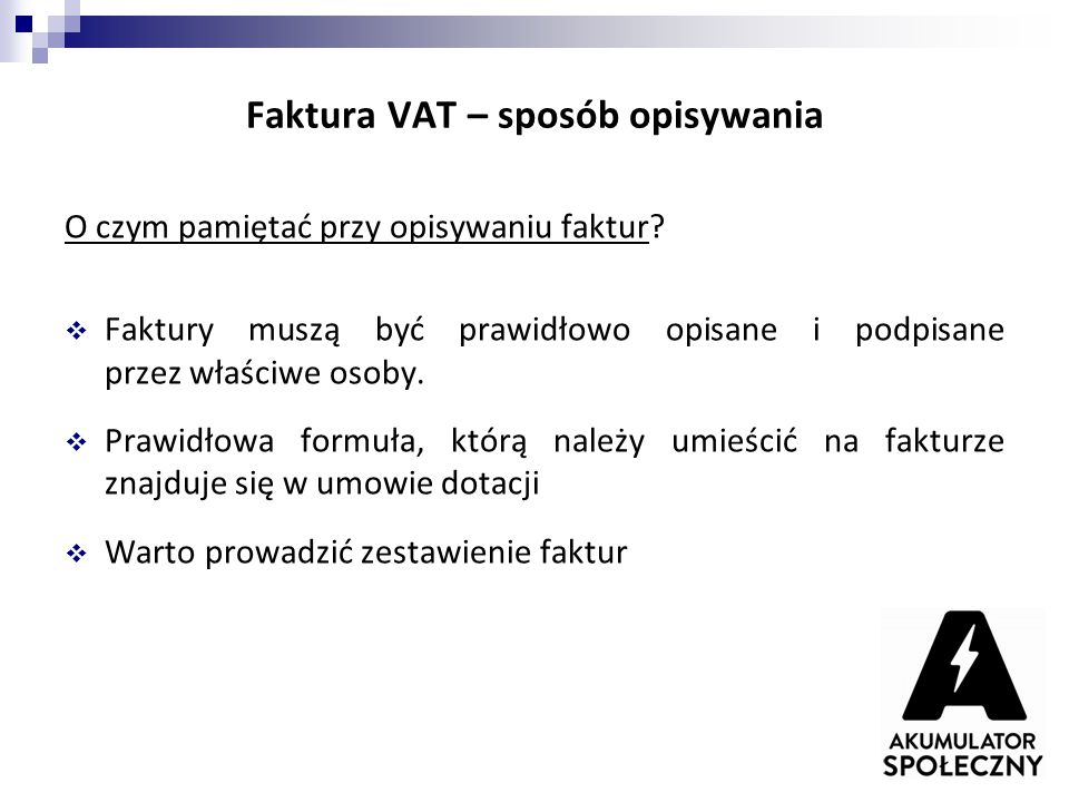 Faktura VAT – sposób opisywania