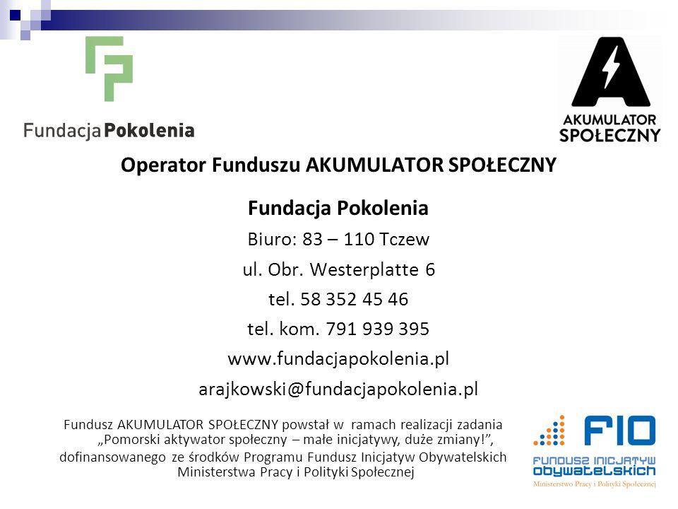 Operator Funduszu AKUMULATOR SPOŁECZNY