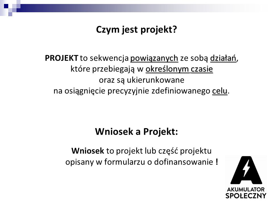 Czym jest projekt Wniosek a Projekt: