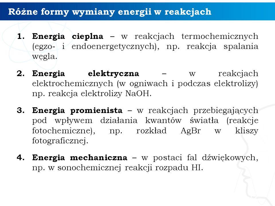 Różne formy wymiany energii w reakcjach