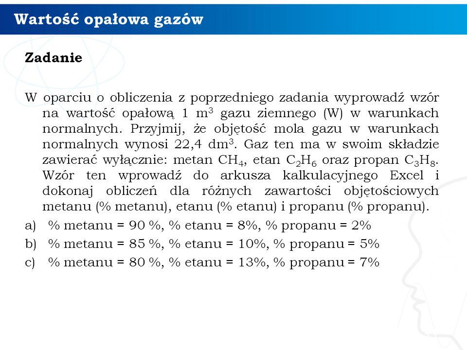 Wartość opałowa gazów Zadanie