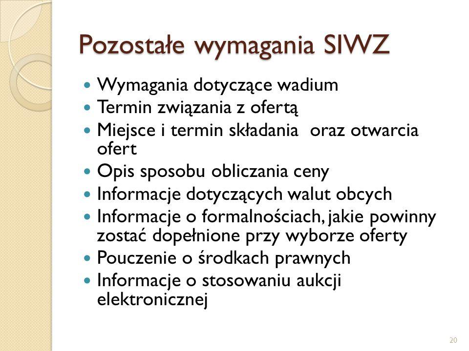 Pozostałe wymagania SIWZ