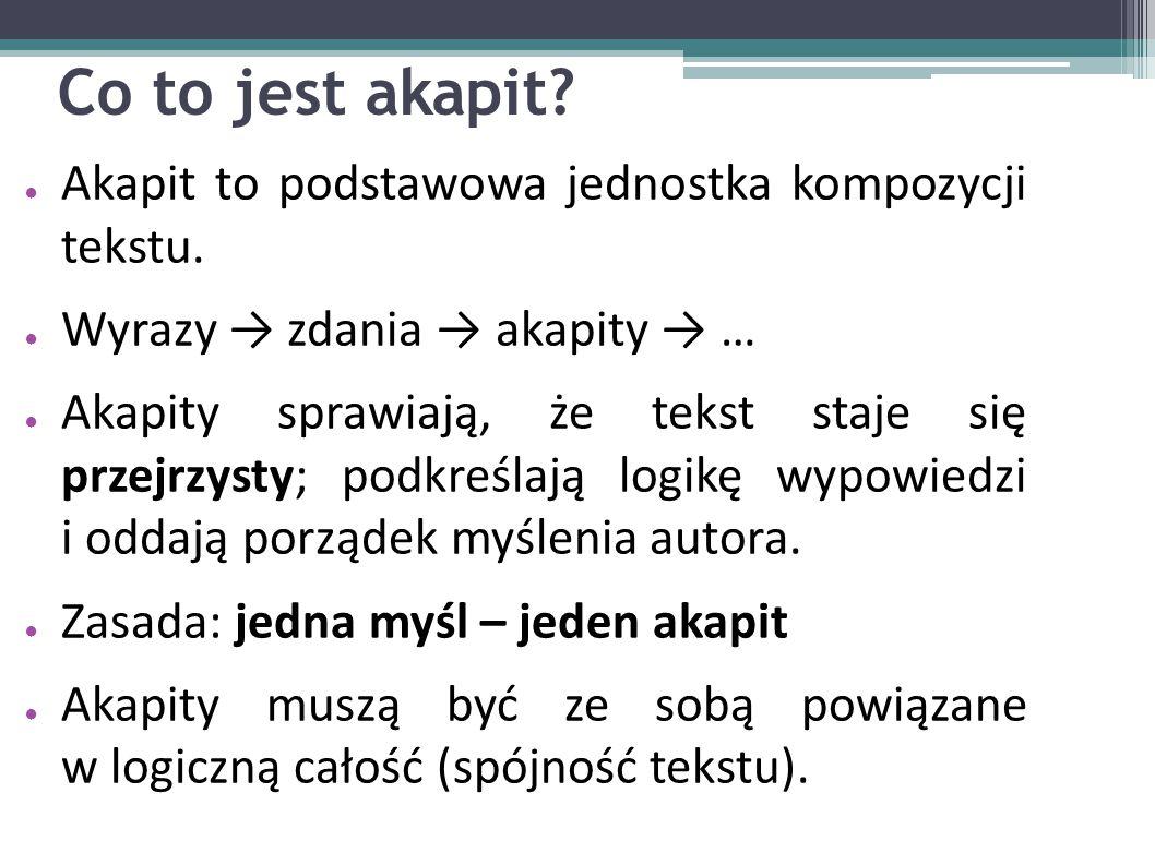 Co to jest akapit Akapit to podstawowa jednostka kompozycji tekstu.