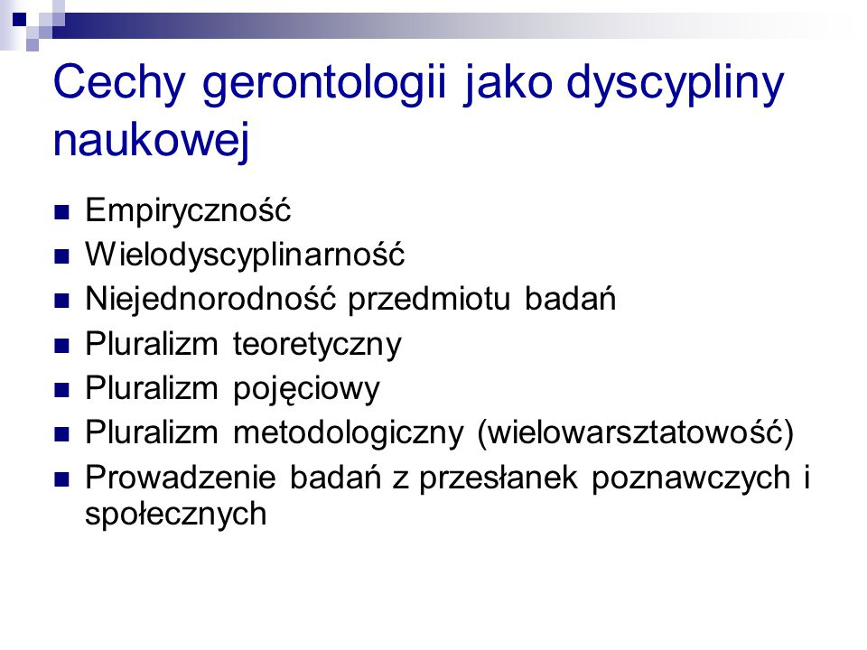 Cechy gerontologii jako dyscypliny naukowej