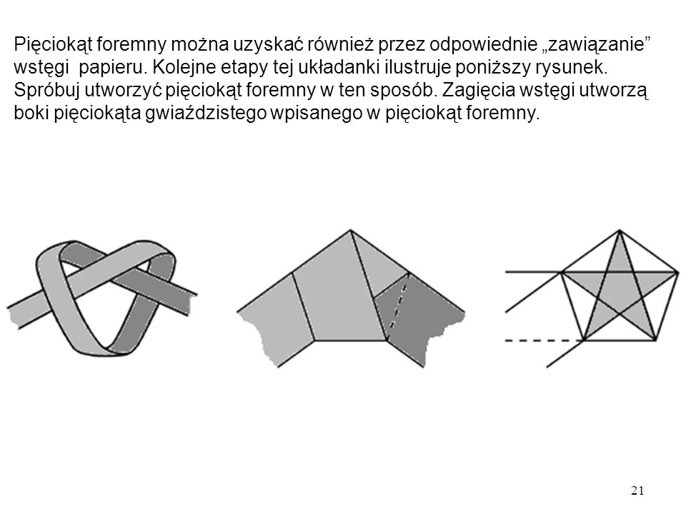 """Pięciokąt foremny można uzyskać również przez odpowiednie """"zawiązanie wstęgi papieru."""