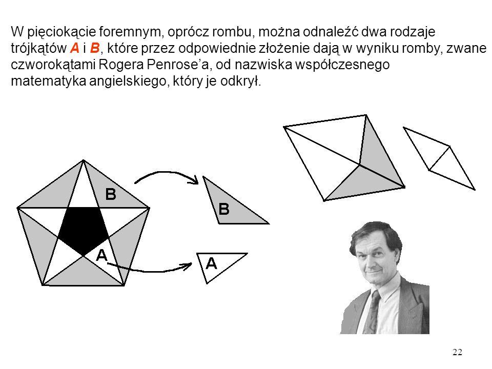 W pięciokącie foremnym, oprócz rombu, można odnaleźć dwa rodzaje trójkątów A i B, które przez odpowiednie złożenie dają w wyniku romby, zwane czworokątami Rogera Penrose'a, od nazwiska współczesnego matematyka angielskiego, który je odkrył.