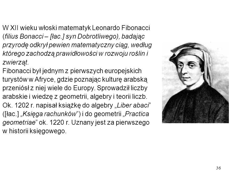 W XII wieku włoski matematyk Leonardo Fibonacci