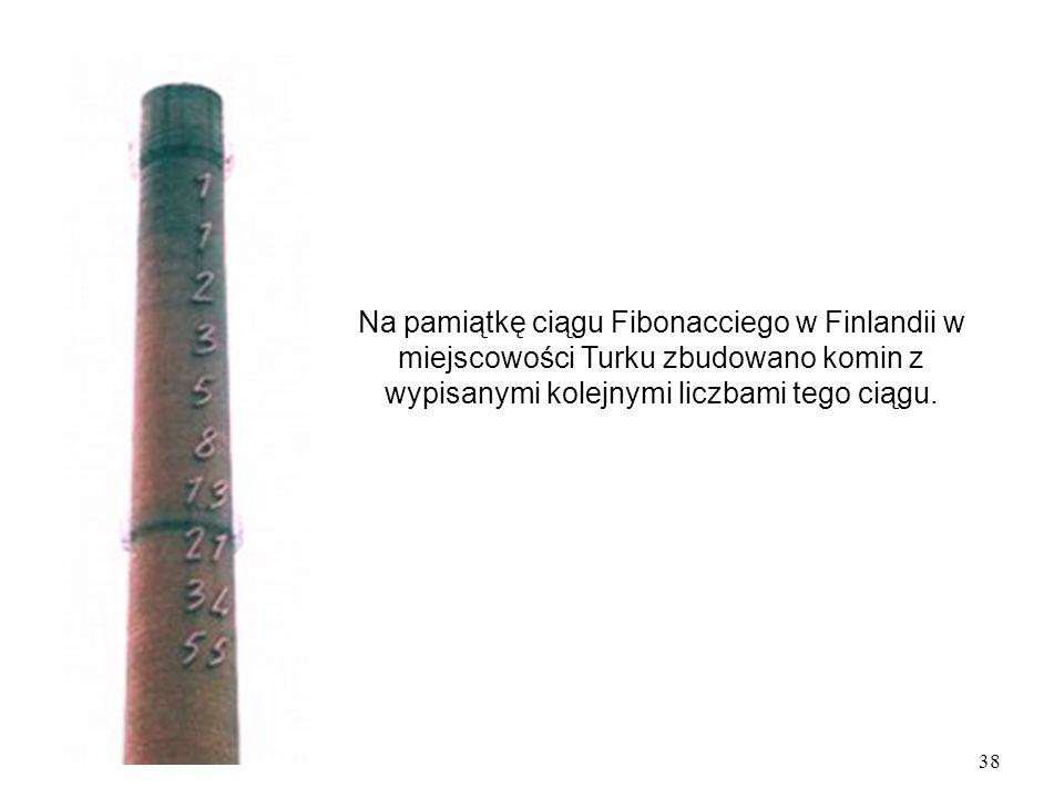 Na pamiątkę ciągu Fibonacciego w Finlandii w miejscowości Turku zbudowano komin z wypisanymi kolejnymi liczbami tego ciągu.