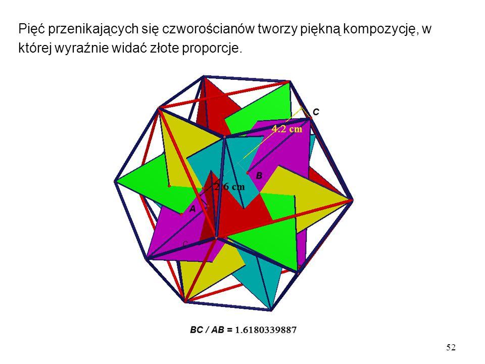 Pięć przenikających się czworościanów tworzy piękną kompozycję, w