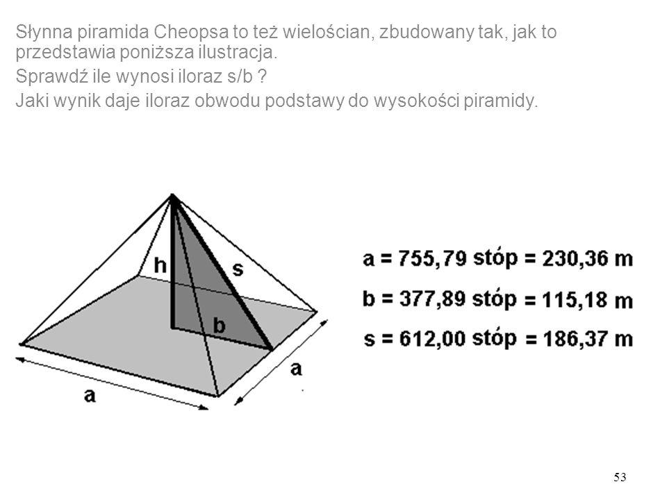 Słynna piramida Cheopsa to też wielościan, zbudowany tak, jak to przedstawia poniższa ilustracja.