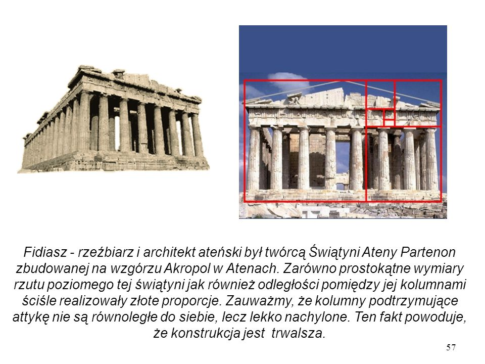 Fidiasz - rzeźbiarz i architekt ateński był twórcą Świątyni Ateny Partenon zbudowanej na wzgórzu Akropol w Atenach.