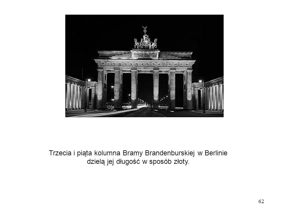 Trzecia i piąta kolumna Bramy Brandenburskiej w Berlinie dzielą jej długość w sposób złoty.