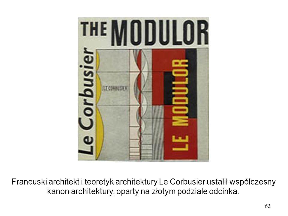 Francuski architekt i teoretyk architektury Le Corbusier ustalił współczesny kanon architektury, oparty na złotym podziale odcinka.