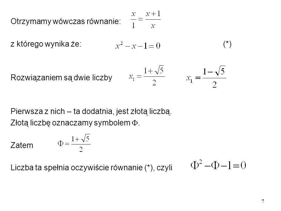 Otrzymamy wówczas równanie: