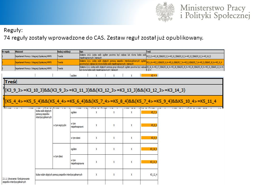Reguły: 74 reguły zostały wprowadzone do CAS. Zestaw reguł został już opublikowany.