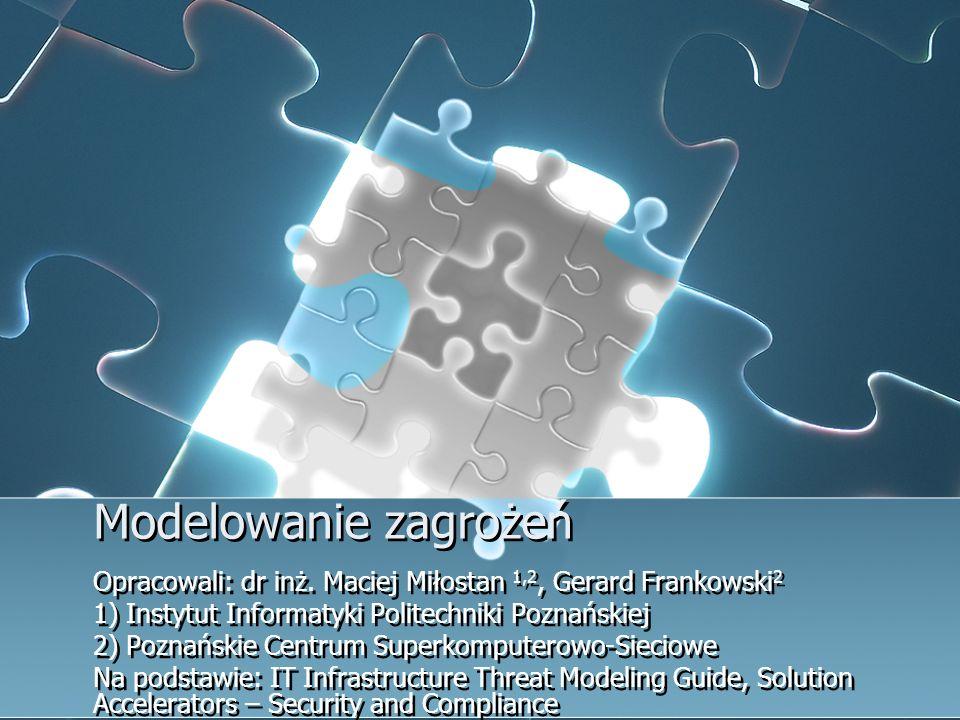 Modelowanie zagrożeń Opracowali: dr inż. Maciej Miłostan 1,2, Gerard Frankowski2. 1) Instytut Informatyki Politechniki Poznańskiej.
