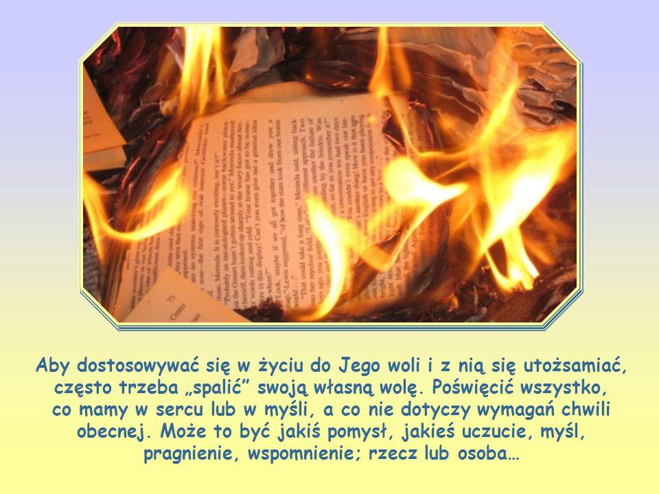 """Aby dostosowywać się w życiu do Jego woli i z nią się utożsamiać, często trzeba """"spalić swoją własną wolę."""