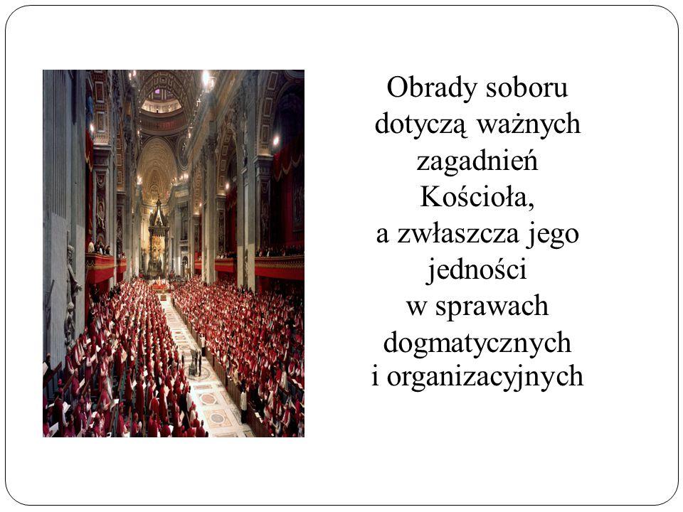 Obrady soboru dotyczą ważnych zagadnień Kościoła, a zwłaszcza jego jedności w sprawach dogmatycznych i organizacyjnych