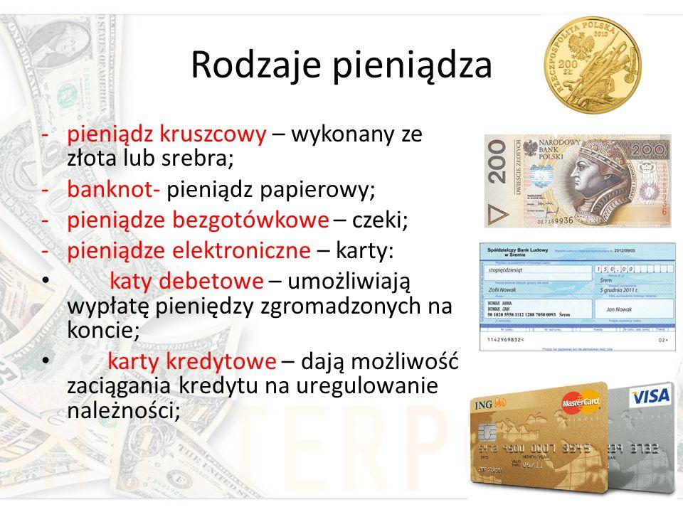 Rodzaje pieniądza pieniądz kruszcowy – wykonany ze złota lub srebra;