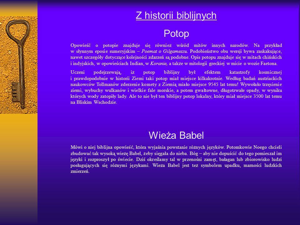 Z historii biblijnych Potop Wieża Babel