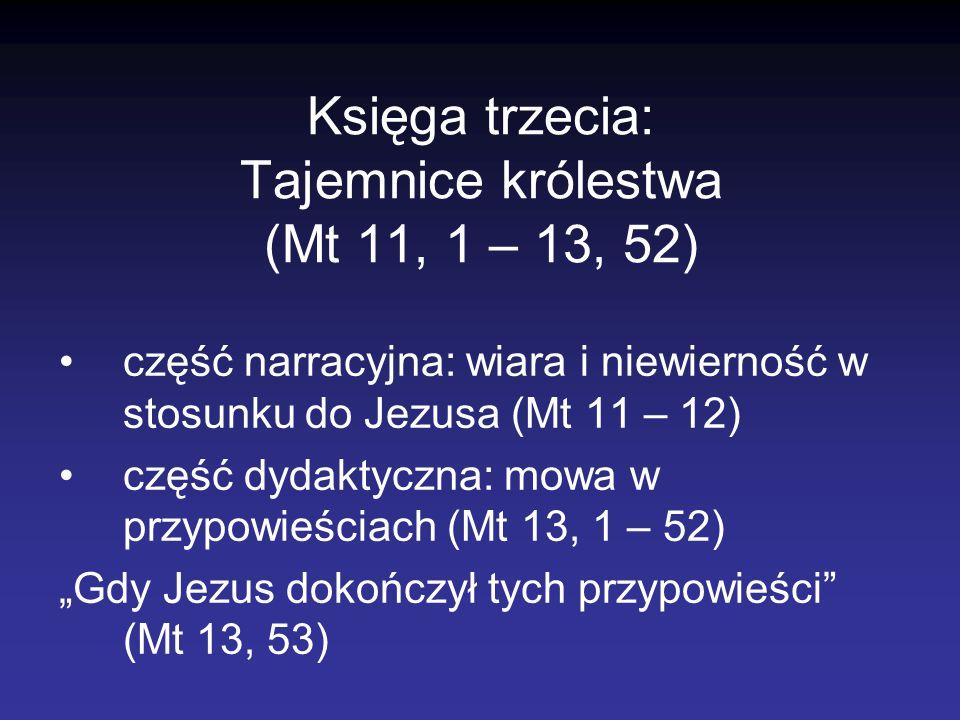 Księga trzecia: Tajemnice królestwa (Mt 11, 1 – 13, 52)