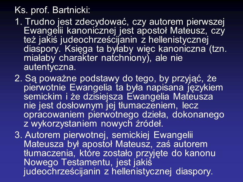 Ks. prof. Bartnicki: