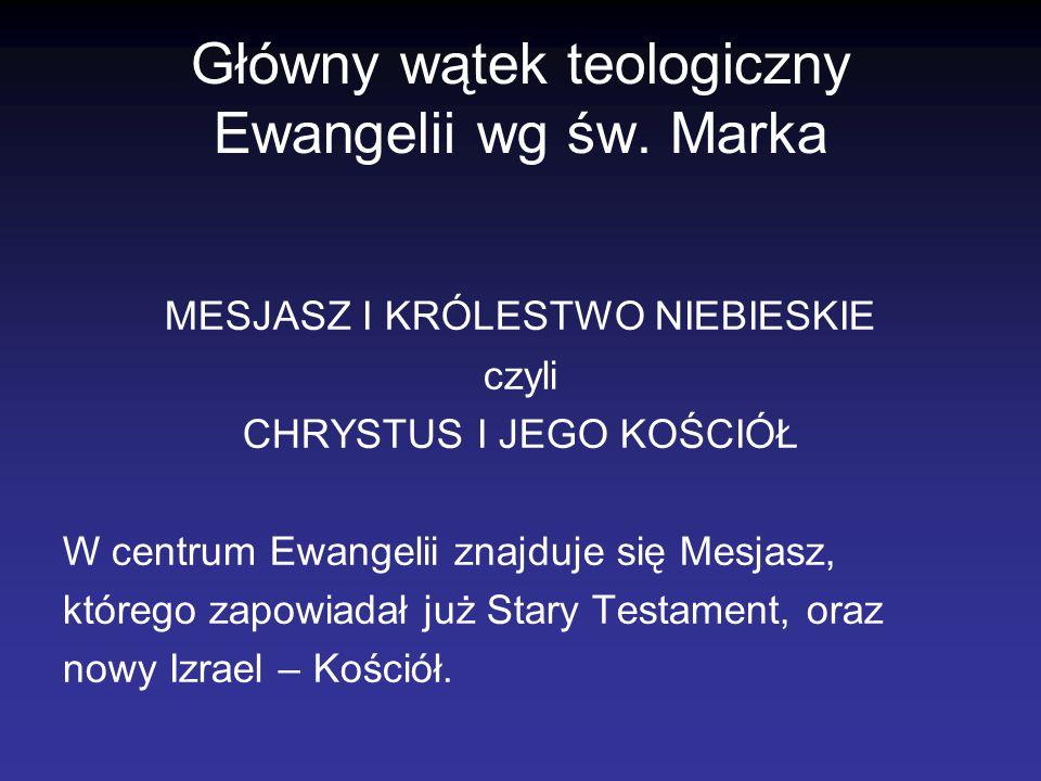Główny wątek teologiczny Ewangelii wg św. Marka