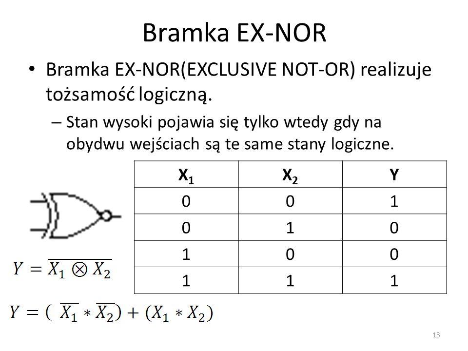 Bramka EX-NOR Bramka EX-NOR(EXCLUSIVE NOT-OR) realizuje tożsamość logiczną.