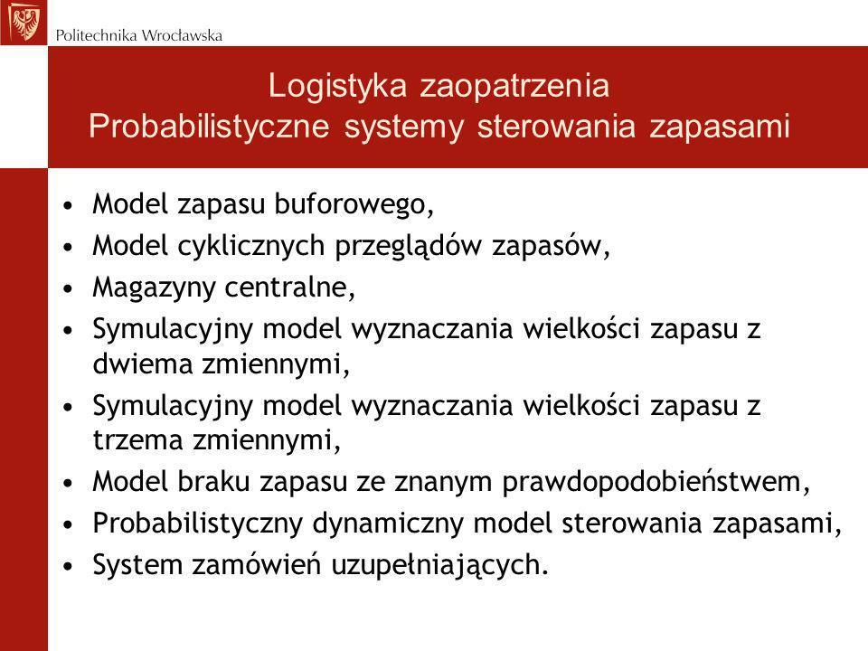Logistyka zaopatrzenia Probabilistyczne systemy sterowania zapasami
